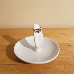 White Leaf Ring/Jewelry Dish Holder
